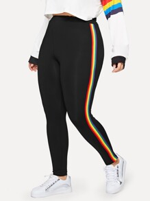 Plus Striped Taped Side Leggings