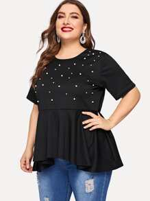 Plus Beaded Ruffle Hem Tee