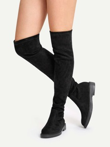 Solid Knee Length Suede  Boots