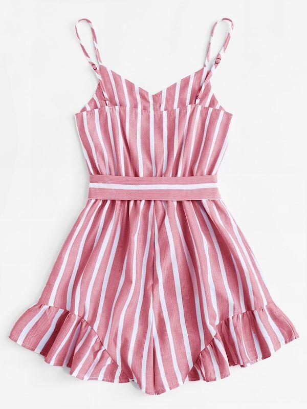 6e889e67753 Cheap Plus Self Tie Waist Striped Cami Playsuit for sale Australia ...