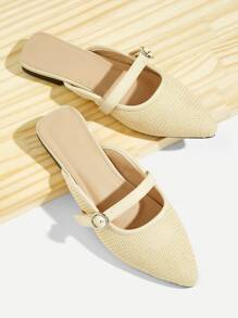 Buckle Strap Decor Linen Flat Mules