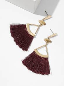 Triangle Detail Tassel Drop Earrings 1pair