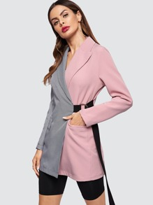 a06474c5433f4 D-ring Belted Combo Blazer   SHEIN UK