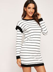 Ruffle Detail Striped Dress