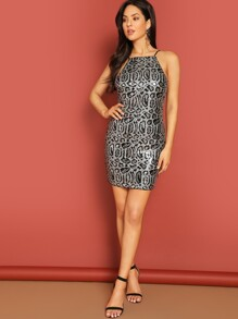 Leopard Sequin Cami Bodycon Dress