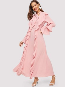 Tie Neck Ruffle Solid Dress