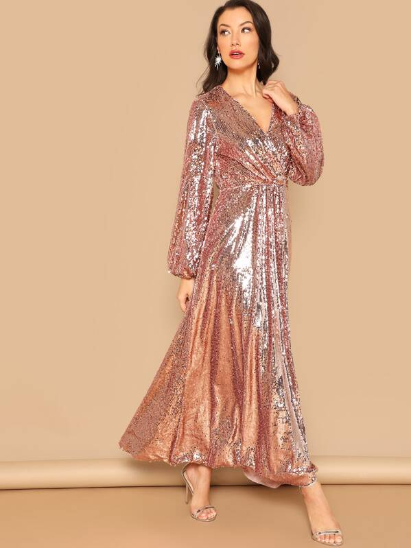 prevalent latest discount amazing selection Lantern Sleeve Surplice Sequin Maxi Dress