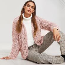 Image of Open Front Fuzzy Coat