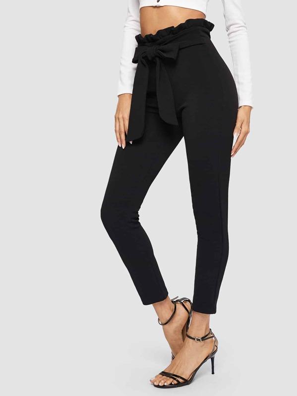 64600d3f9d Paperbag Waist Skinny Pants With Belt | SHEIN