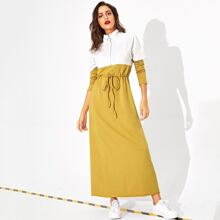 Zip Front Drawstring Waist Two Tone Dress