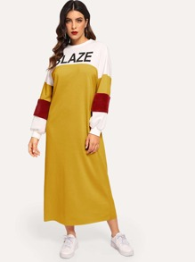 Faux Fur Contrast Sleeve Color Block Letter Dress