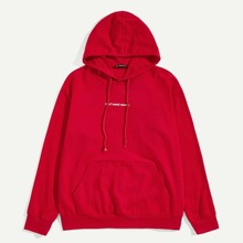 Men Letter Embroidered Drawstring Hoodie