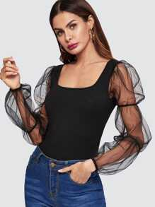 Tiered Mesh Blouson Sleeve Fitted Top