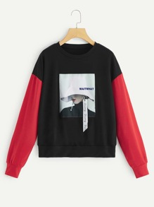 Graphic Patched Contrast Sleeve Pullover