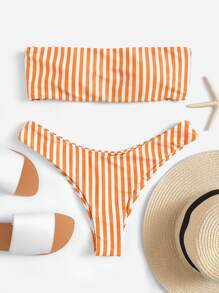 Random Striped Bandeau Bikini Set