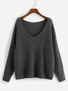 Plus Drop Shoulder V Neck Jumper