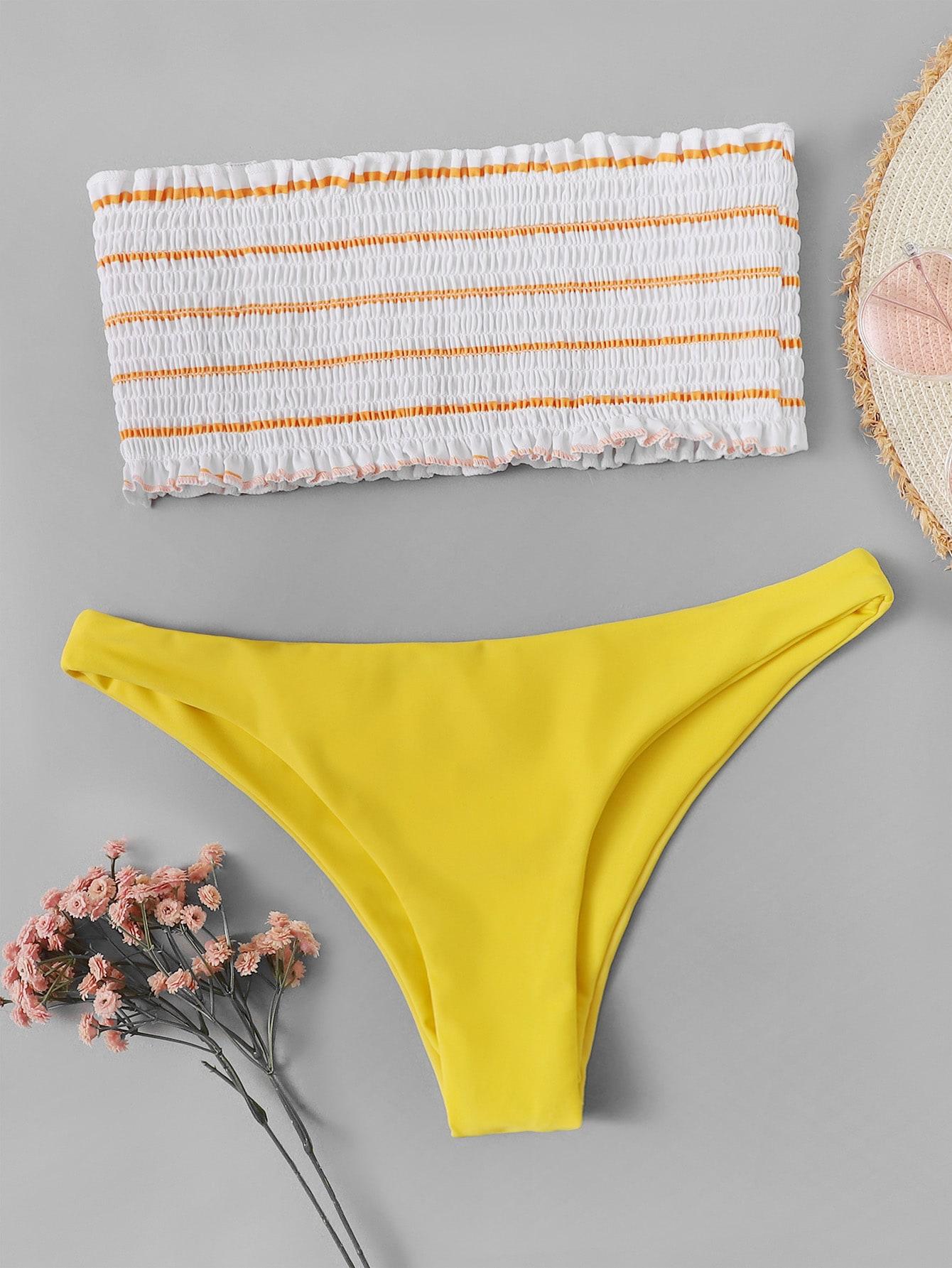 eb61d073b769 Shoptagr   Frill Trim Shirred Bandeau With High Leg Bikini by Romwe
