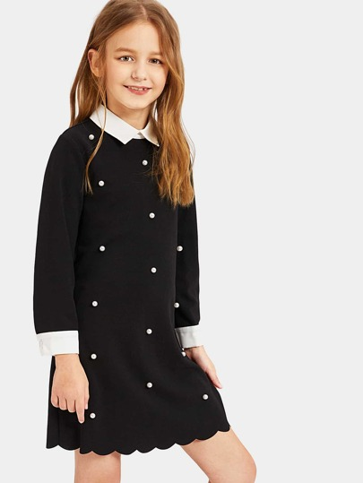 Girls Contrast Trim Pearl Beading Scalloped Dress