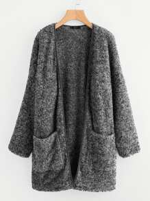 Plus Binding Neckline Pocket Front Teddy Coat