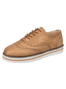 Lace-up Suede Brogue Oxfords