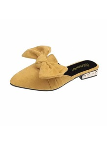 Point Toe Bow Decor Suede Mules