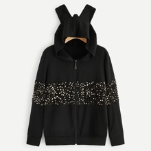 Contrast Sequin Zip Up Hooded Sweatshirt