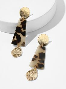 Tortoiseshell Pattern Geometric Drop Earrings 1pair
