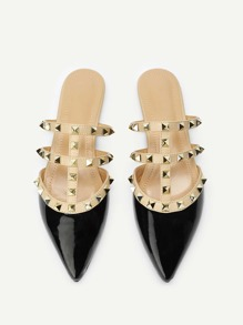 Studded Decor Point Toe Mule Flats