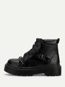Buckle Design Lace-up Boots