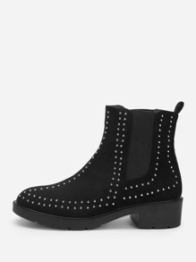 Studded Decor Western Ankle Boots