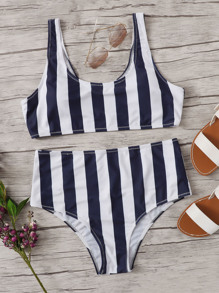 Plus Striped Scoop Neck Top With High Waist Bikini