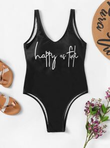 Plus Letter Print One Piece Swimsuit
