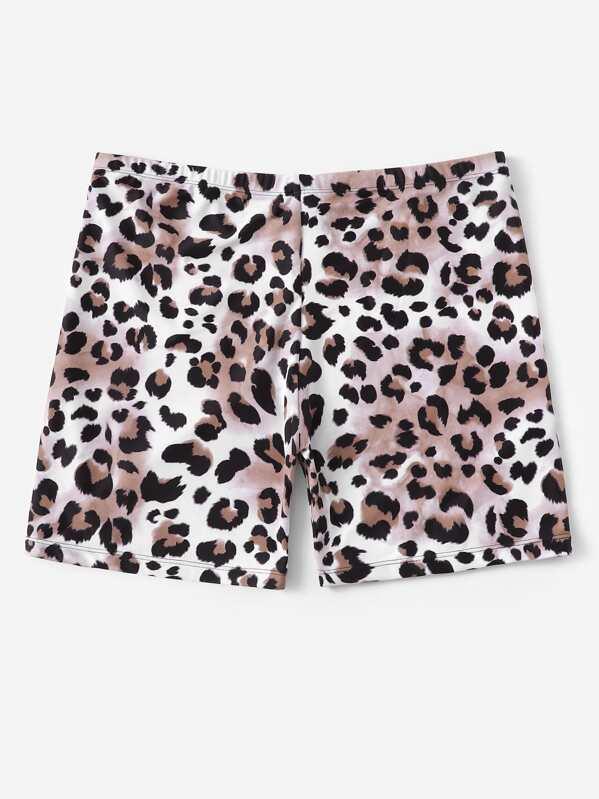 cc92094a2c Plus Leopard Print Swimming Shorts   SHEIN