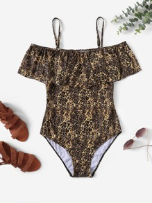 Plus Leopard Print Flounce One Piece Swimwear