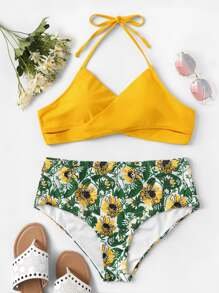 Plus Criss Cross Top With Floral High Waist Bikini
