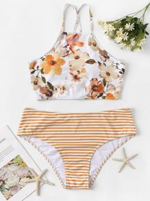 Plus Floral Criss Cross Top With Striped Bikini