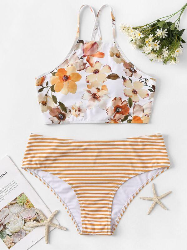 509ece8a065 Plus Floral Criss Cross Top With Striped Bikini