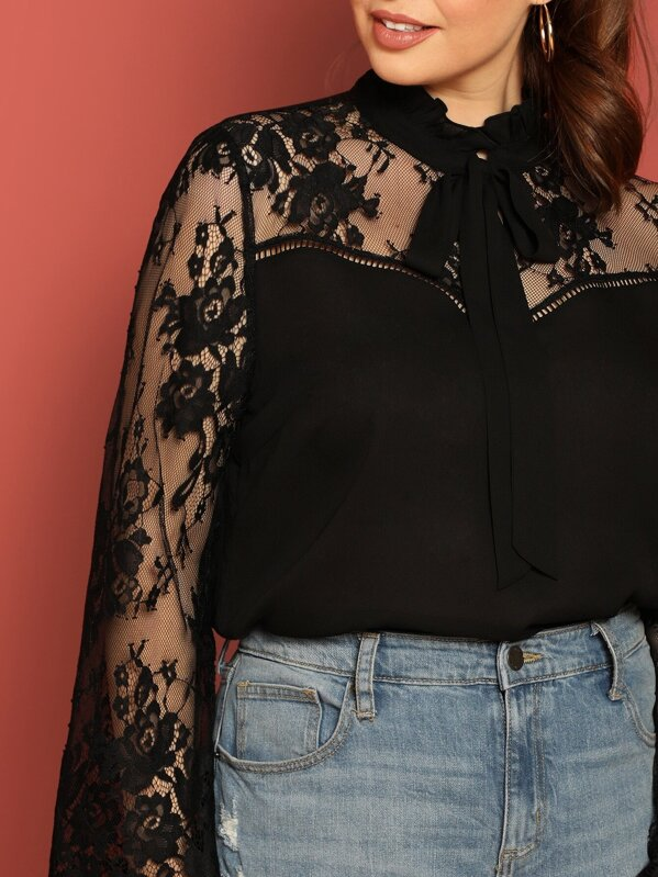 bd87872c31 Plus Lace Insert Flare Sleeve Frilled Tie Neck Blouse. AddThis Sharing  Buttons