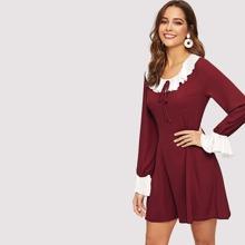 Knot Front Button Bell Sleeve Ruffle Dress