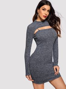 Marled Bodycon Dress With Shrug Top