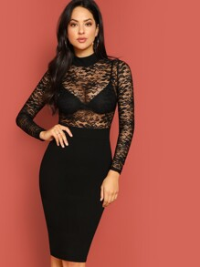 Mock Neck Lace Top Slit Dress Without Bra
