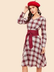 80s Fit & Flare Belted Plaid Dress