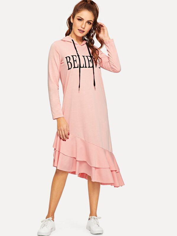 6073ba616 فستان مقنع بحوزف وبحافة مكشكش طبقات | شي إن