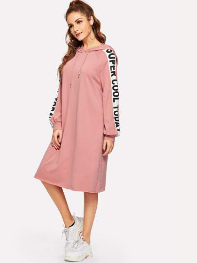 Raglan Sleeve Slogan Tape Hooded Sweatshirt Dress