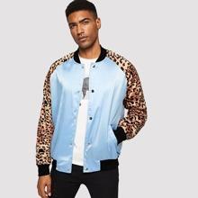 Guys Leopard Print Raglan Sleeve Bomber Jacket