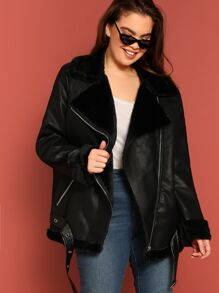 Plus Belted Hem Contrast Faux Fur Biker Jacket