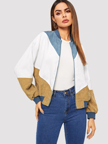 Cut-and-sew Zipper Cord Bomber Jacket
