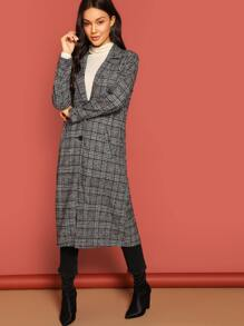 Notch Collar Single Breasted Glen Plaid Coat