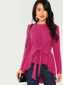 Waist Belted Asymmetrical Hem Top