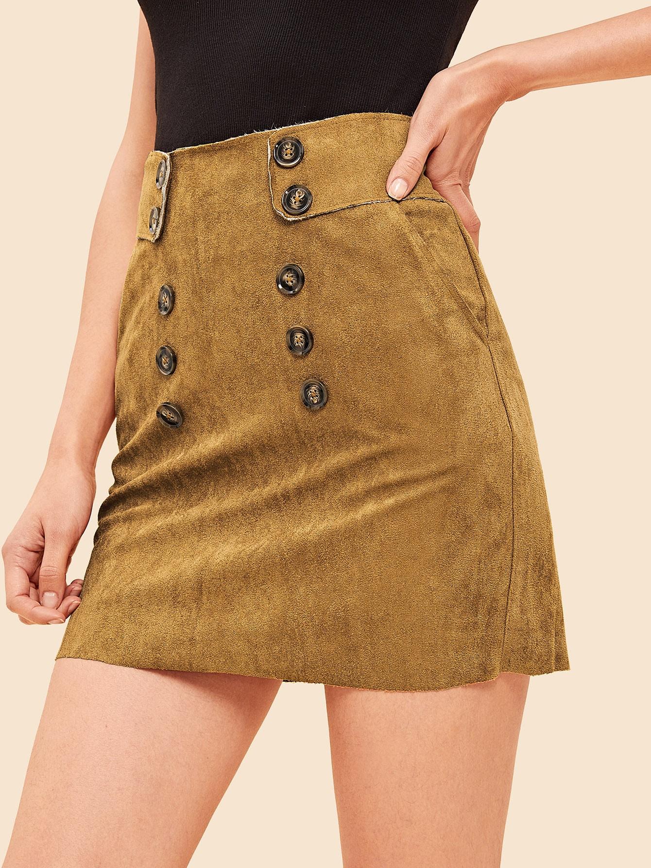 90s замшевая двухбортная юбка с карманом thumbnail
